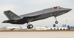 The 500th F-35 delivered takes off from Lockheed's Fort Worth, Texas, assembly plant.
