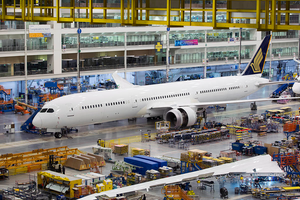 The first 787-10 Dreamliner built for Singapore Airlines, in North Charleston, S.C. The plane is seen here in the factory.