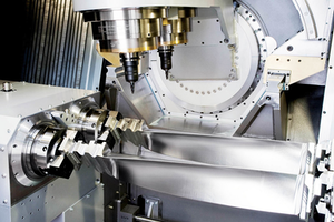 The Turbomill 1400 g uses its large size, weight, and rigidity to counter the forces generated by the 1-g acceleration/deceleration rates it achieves through three-dimensional machining.