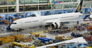 Boeing rolled out the first 787-10 Dreamliner built for Singapore Airlines at North Charleston, S.C.