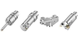 The eBore Fine Boring System includes these tool types, from left to right: eBore Universal, eBore Fine Boring, eBore Bridge Tool, eBore Twin Cutter.