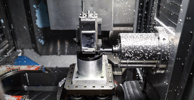 Machining the Non-Mag wallet at Loper Machine LLC, Edgewood, Md.