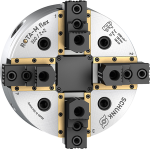 Sealed guideways ensure process safety of the centrically compensating SCHUNK ROTA-M flex 2+2 chuck.