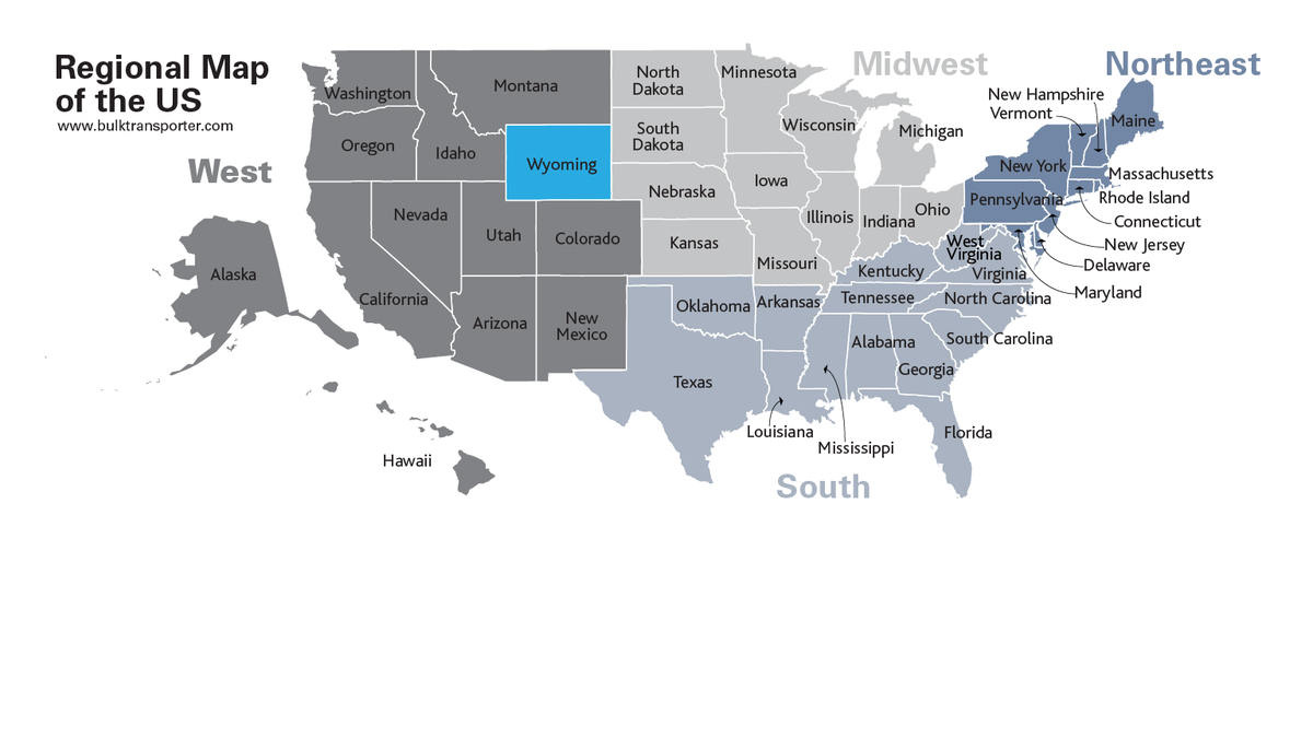 Map Of Us Wyoming Wyoming | Cargo Tank Cleaning Facilities | Bulk Transporter