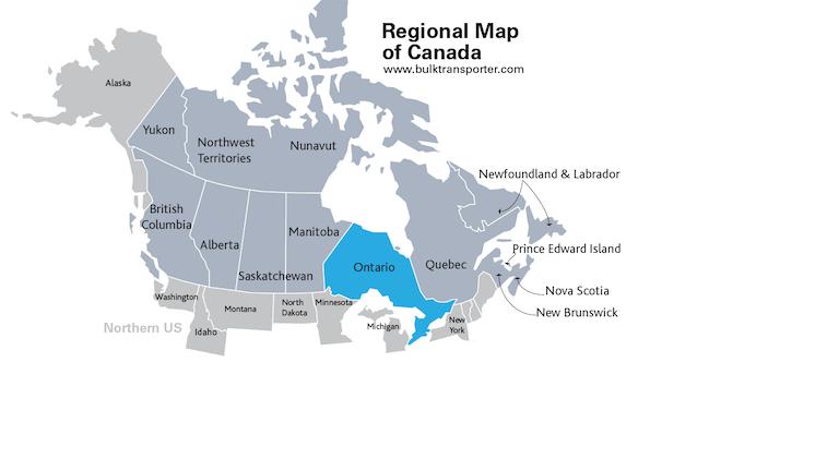 Ontario Alberta Canada Map Ontario | Cargo Tank Cleaning Facilities | Bulk Transporter