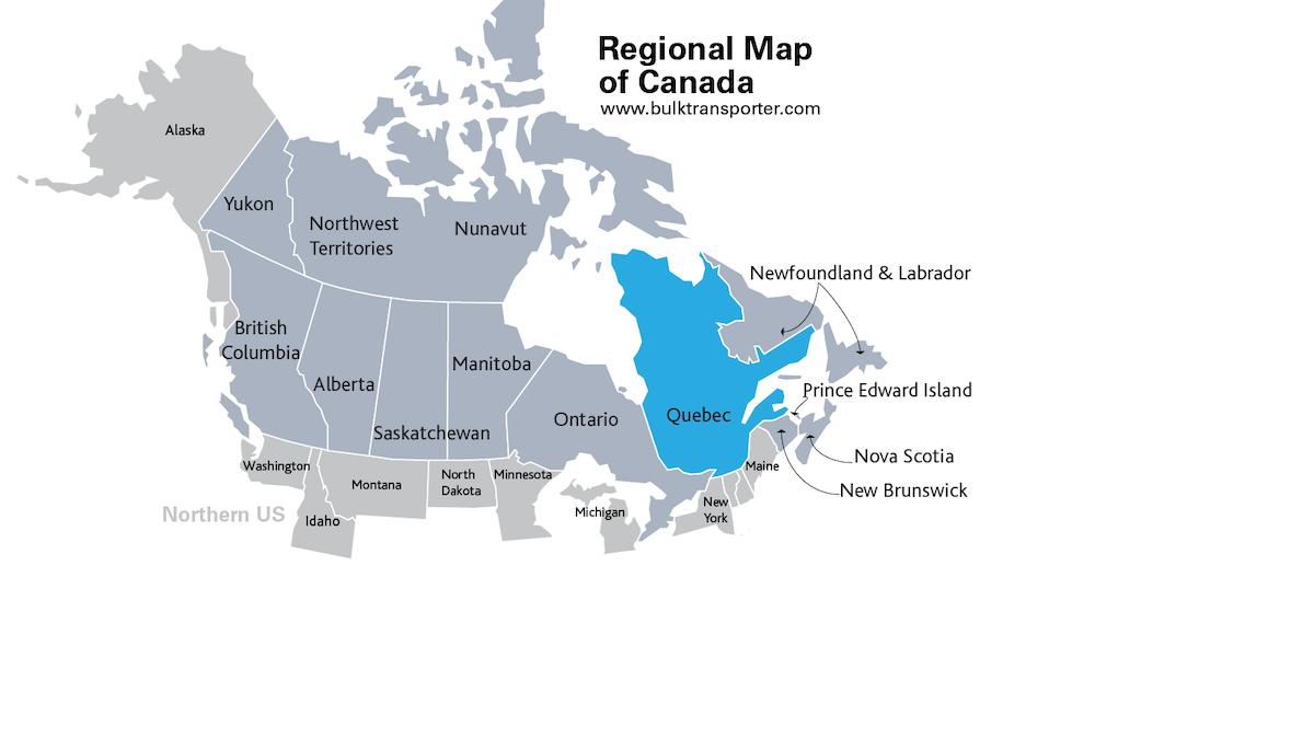 Map Quebec Canada Quebec | Cargo Tank Repair Facilities | Bulk Transporter