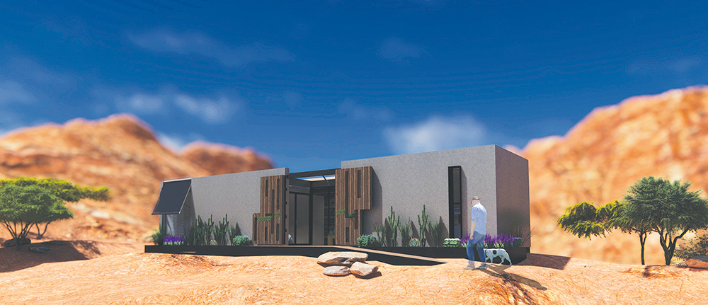 """Desert Bloom is designed as a self-sufficient, affordable home for military veterans dealing with the """"effects of wartime trauma"""" through nature."""