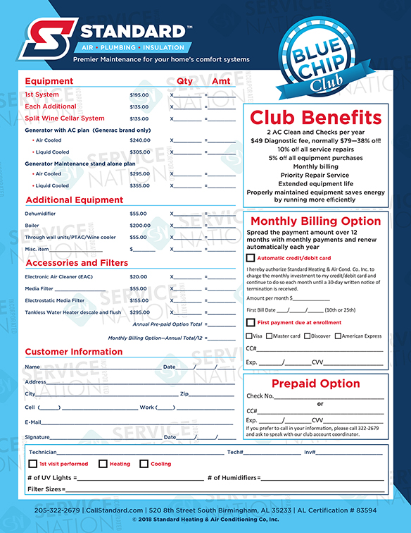 "An example of a Service Club agreement. Clubs should be named (""Blue Chip"") and have dedicated support."