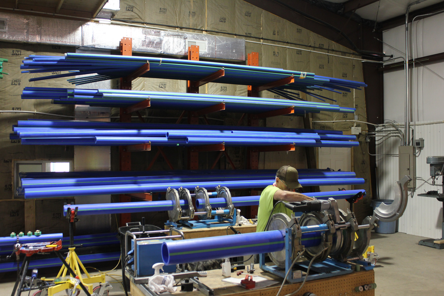 """Kim Poole, the Fab Shop Foreman at Williams Plumbing, says of Aquatherm pipe: """"It's very fast, it's very efficient, and it's enjoyable to work with."""""""
