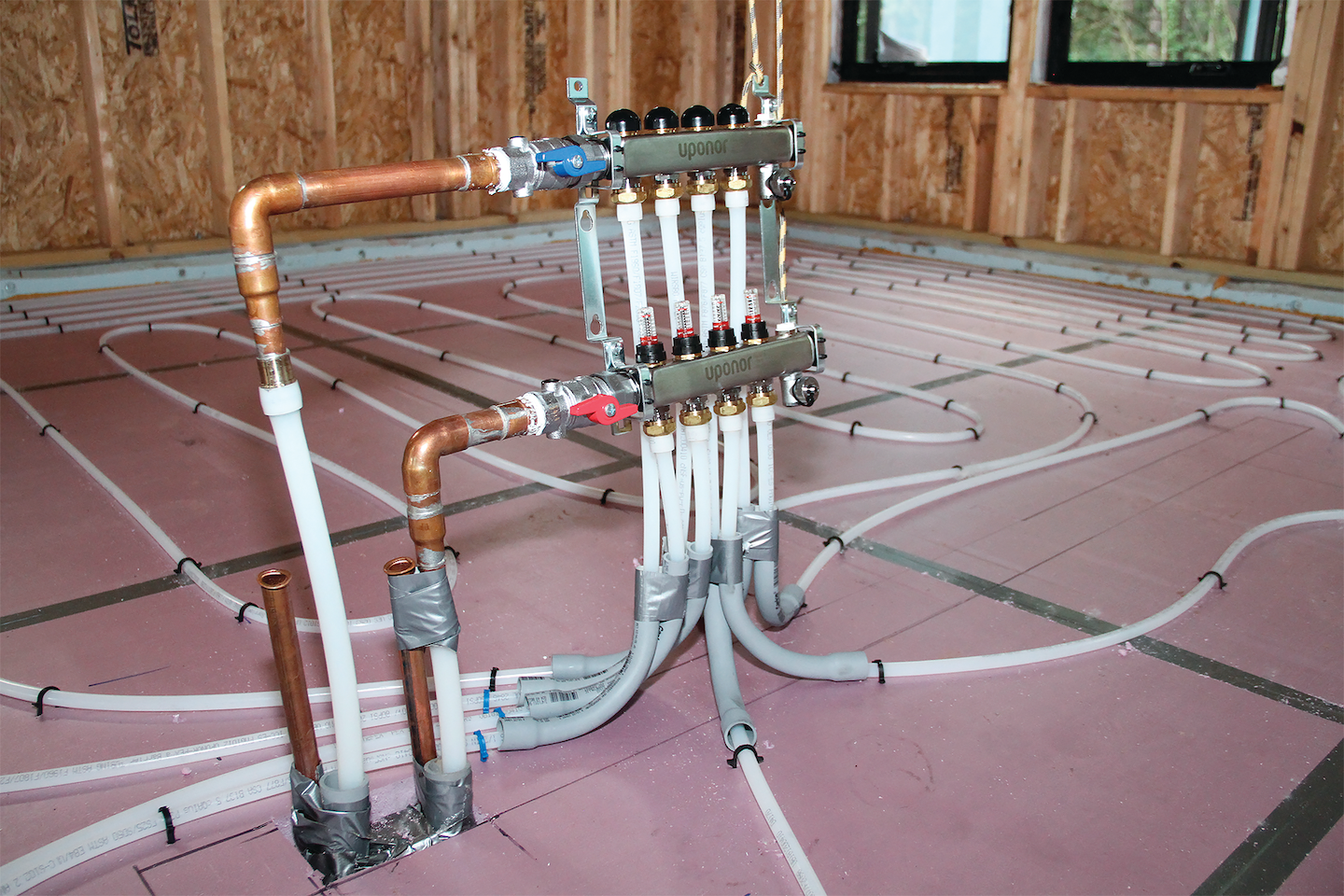 The manifold in zone four provides radiant heating and maximizing comfort in the dinette, kitchen, foyer, office, and great room.