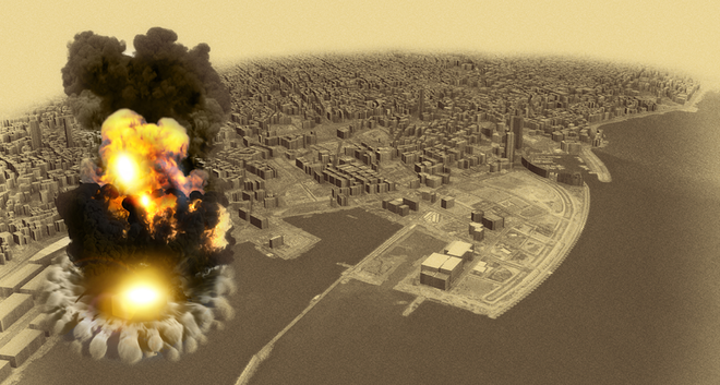 Aerial view during the explosion in the port area of Beirut, Lebanon. Ammonium nitrate stored in the harbor. 3D render.