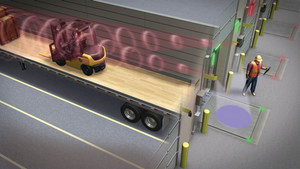 Motion sensors communicate that there is activity inside of a trailer at the loading dock.