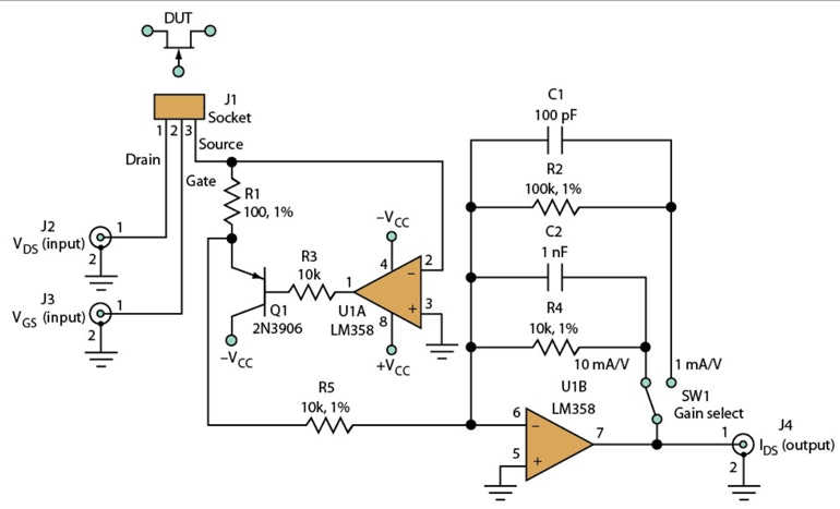simple circuit turns scope  function generator into jfet