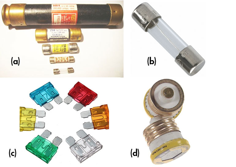 """2. Fuses come in a wide range of form factors and current/voltage ratings (not to scale): Blade-type 15- and 20-A fuses commonly used for car circuits (12 V dc) (a); low-current """"3AG"""" fuses for up to about 120 V ac (b), old-fashioned """"S"""" and """"T""""-type screw-in fuses rated to 20 and 30 A used in 120-V ac power lines) (c); and larger fuses (50 A and higher) are often housed in cylinders called cartridges (d). (Image sources: Sunstore/UK; Source: Electrical Wholesaler/Ireland; RONA Langdon Hardware Ltd/Canada; and reviseOmatic.org)"""