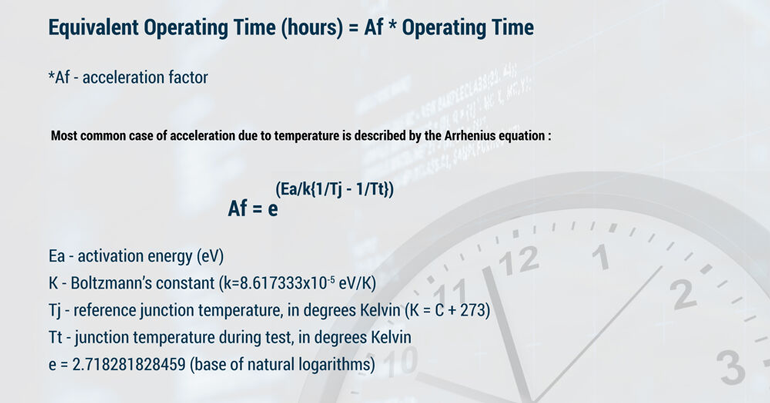 3. MTBF varies with operating conditions. Instead of performing separate MTBF studies for each stress level (i.e., different temperature), substitute actual Operating Time with Equivalent Operating Time, which is calculated based on the various well-known life acceleration factors for different stress conditions.