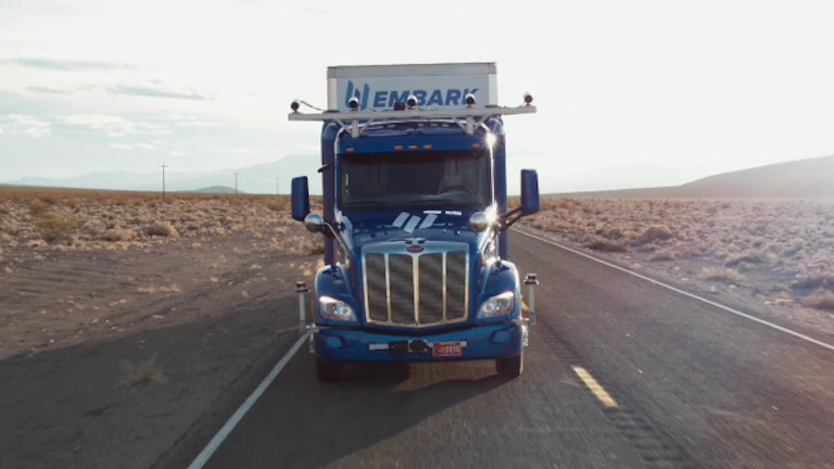 Embark unveiled its new self-driving truck technology Feb. 24.