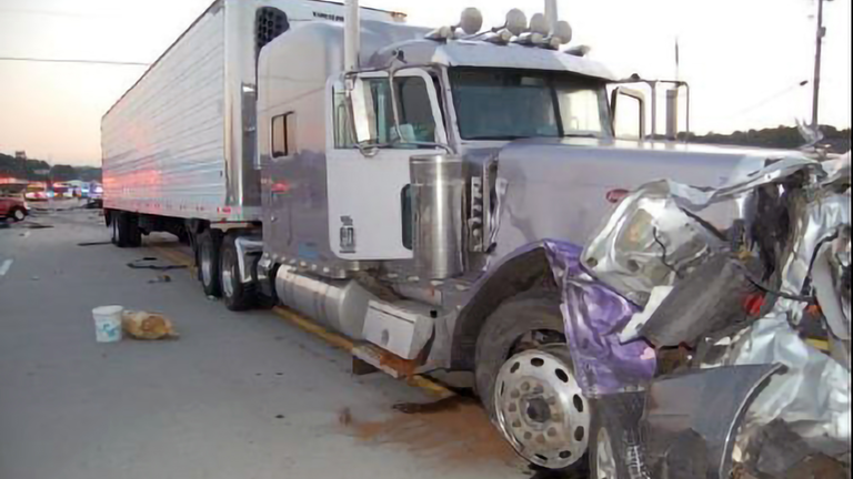 A 2015 crash near Chattanooga, TN where this tractor-trailer plowed into construction zone traffic, striking eight vehicles and killing six occupants.