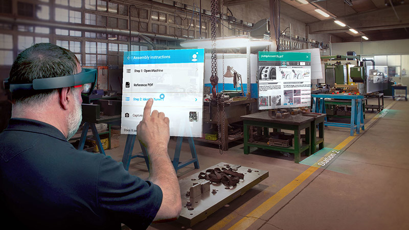 The Microsoft HoloLens can be used to provide step-by-step assembly and maintenance work instructions.