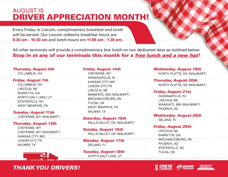Crete Carrier Driver Appreciation Month 2020