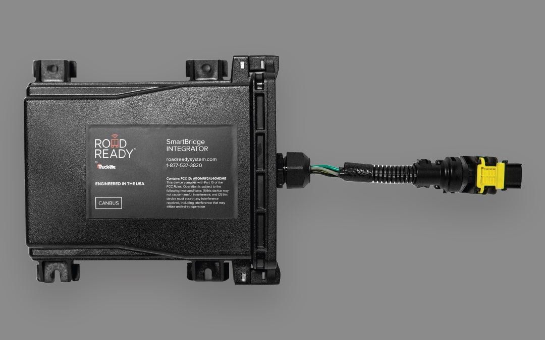The Smart Bridge Integrator bridges OE trailer products and systems with Road Ready by broadcasting data to the cloud for review on Road Ready's website or a fleet's own dispatching software system.