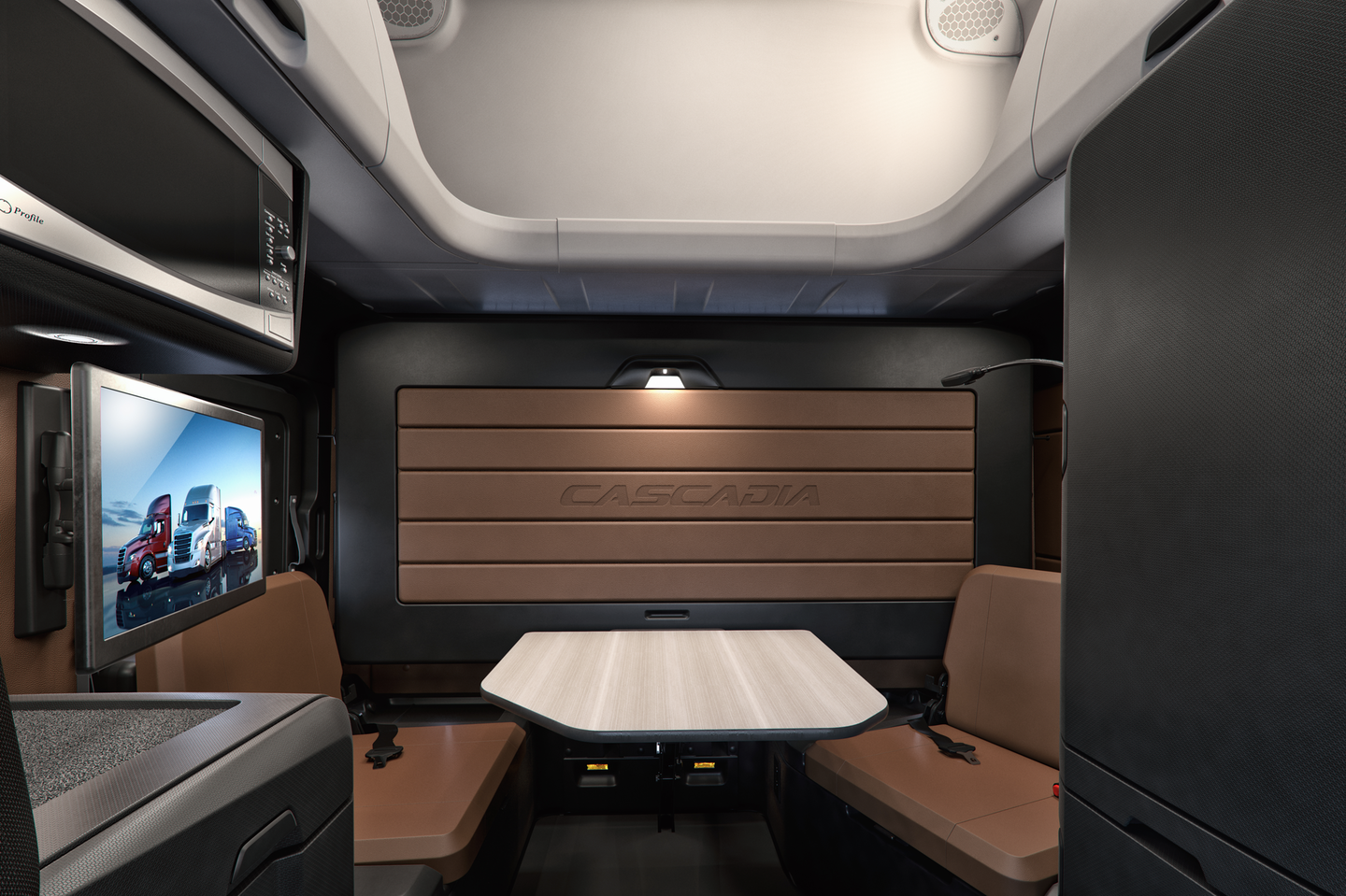 Freightliner Cascadia's optional driver lounge features a dual-seat dining area.