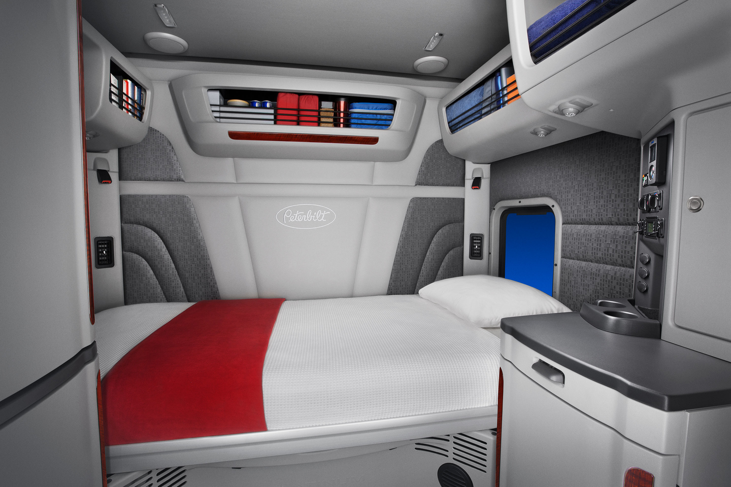 The Peterbilt 579 UltraLoft has an interior height of 8 ft. to go with more than 70 cu. ft. of sleeper space.
