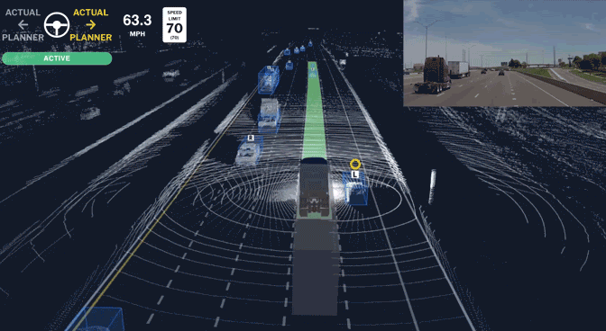The Aurora Driver system detects other vehicles around it as it moves along a divided highway, as depicted in this graphic.