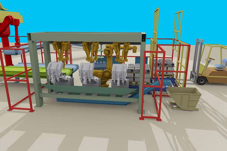 """A conceptual view of an automated work cell for finish-grinding cast par.ts. """"Automating the finishing process not only results in lower labor content (per casting) but also improved quality, by introducing consistency to the process,"""" according to FS&D's Ralph Perkul."""