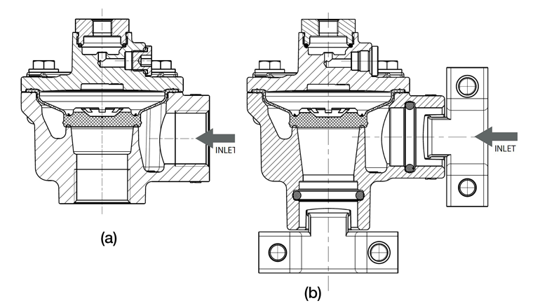 A pulse valve's connection and part count determine how much time it takes to install. The patented quick mount clamp connection reduces installation time by up to 60% compared to dresser and threaded options. Pictured: (a) Standard threaded pipe connection; (b) Quick mount clamp connection.