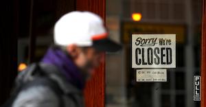 Sorry We're Closed Sign Covid 19 Coronavirus Justin Sullivan Getty Images