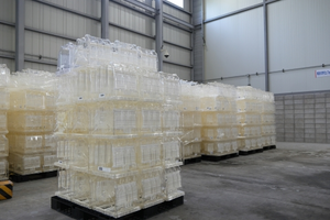 Samsung's plastic wafer boxes waiting to be recycled