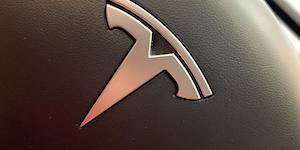 Tesla Logo Steering Wheel Detail © Joni Hanebutt Dreamstime