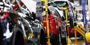 Automotive Car Vehicle Auto Red Crossover Car Factory Assembly Line © Alexander Khitrov Dreamstime