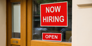 Red Now Hiring Sign Employment Talent Window© Andrey Popov Dreamstime