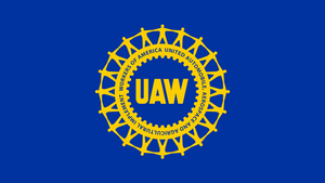 Uaw Wheel Logo Yellow On Blue