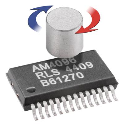 Les éléments d'un codeur magnétique comprennent un aimant à 2 pôles et un circuit intégré contenant des dispositifs à effet Hall et des circuits de traitement.