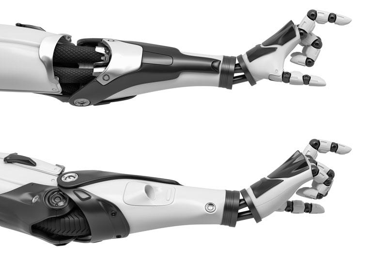 Rendu 3D d'un bras robotique.