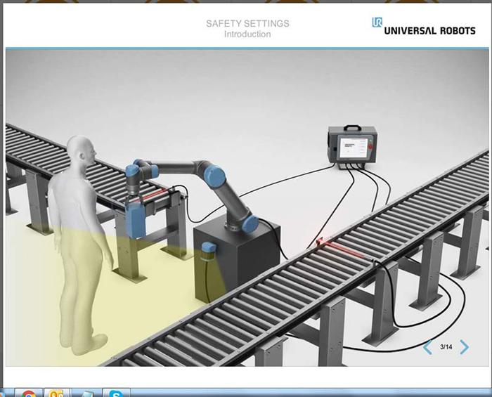 Les modules de formation gratuits proposés dans UR Academy d'Universal Robots proposent des didacticiels interactifs sur la configuration des zones de sécurité.