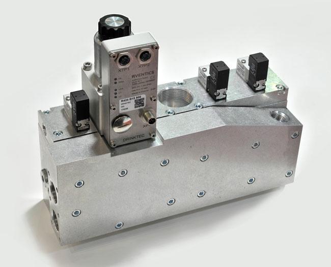 Le bloc EP07-PT est équipé d'un régulateur de débit de haute qualité, d'une vanne intégrée au bloc de soufflage et de fonctions intégrées IoT.