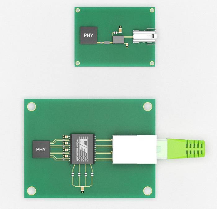 Avec SPE, le nombre de composants passifs sur un PCB est considérablement réduit.  Avec le connecteur compact, la configuration SPE (en haut) peut économiser jusqu'à 75% d'espace PCB, par rapport à Ethernet actuel sur RJ45, permettant la miniaturisation de l'appareil pris en charge.