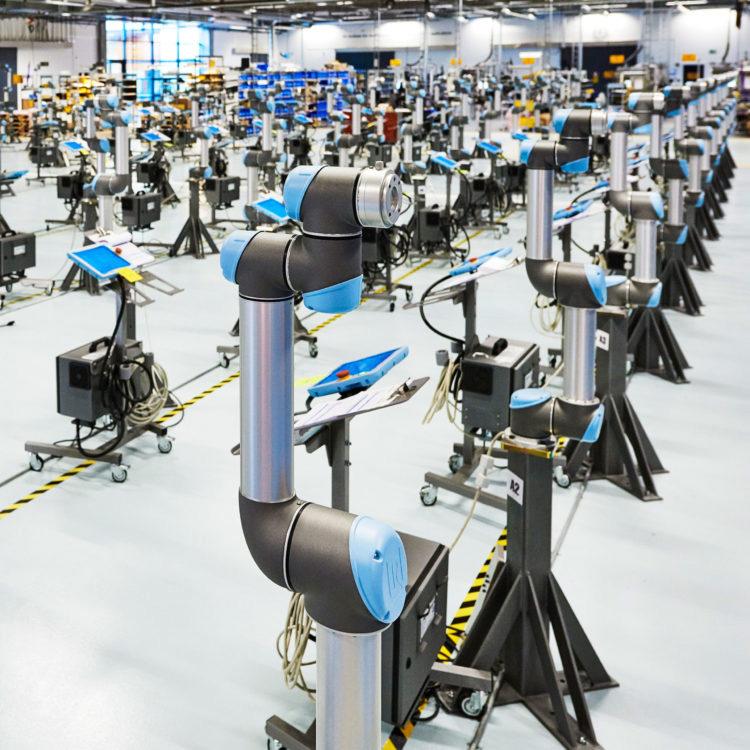 Plancher de production de robots collaboratifs à l'échelle 750x750