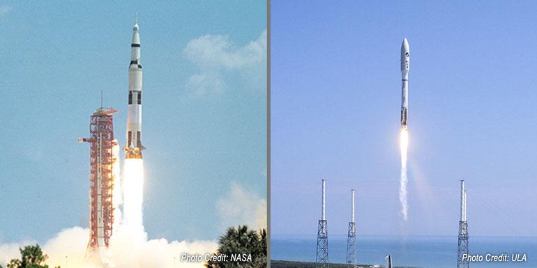 Mission Apollo 16 de la fusée Saturn V en 1972 (à gauche) et lancement de l'Atlas V en 2019 (à droite).
