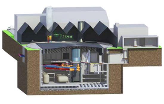 Concept de conception du réacteur à haute température refroidi au sel de fluorure Kairos Power.