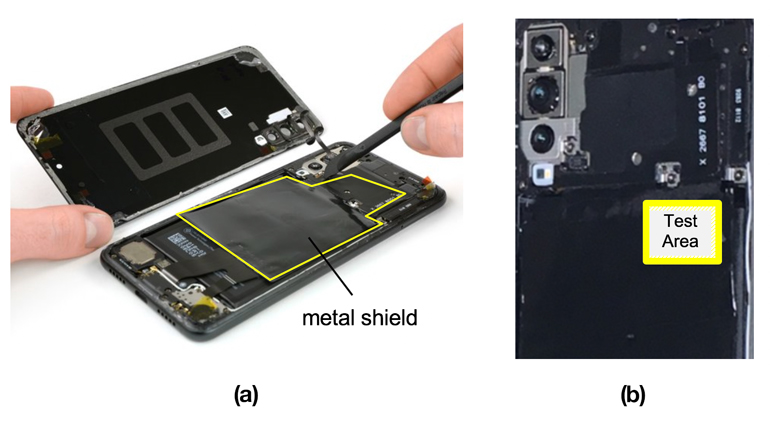 4. For testing, a Huawei P20 phone was used (a). The highlighted area shows the size and location of the existing metal shield. A test area was then selected (b).