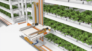 A water line set into the energy chain feeds the plants and feeds the plants, delivering about 5,417 gallons of water per hour. Living Greens Farm has 86 traverse systems in operation to help grow its products.