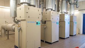 The original installation of four turbocompressors.