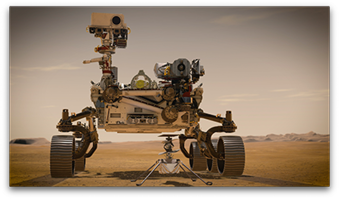 The Perseverance rover and the Mars helicopter Ingenuity.
