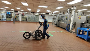 Concrete scanning and utility locating using GPR and RD at Gallo Winery facilities.