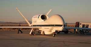 NASA provided NOAA with the Global Hawk drone to fly into hurricanes and gather storm data. The drone can monitor a storm's strength and other physical properties normally performed by manned aircraft. Courtesy of NASA.