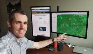 Brady Allred, the app's creator, said the online platform provides the first-ever annual vegetation cover maps, which are designed to help improve America's rangelands. Photo by David Naugle.